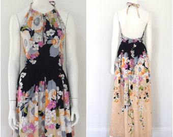70s Backless Maxi Dress/ Floral Halter Dress/ Cotton Dress/ Woman's Size XS to Small