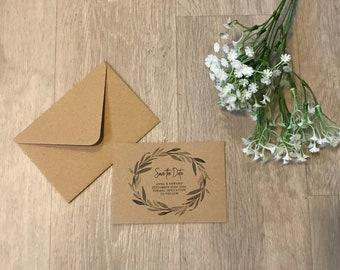 OLIVE || SAVE THE dates, budget invites, rustic wedding invitations