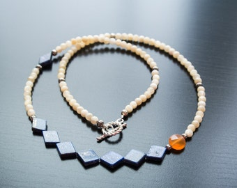 Blue Diamond Halskette - blauen Lapislazuli, Jaspis, Karneol, Edelsteine, Semi Precious, Silberschmuck, Geschenk für ihr Jubiläum