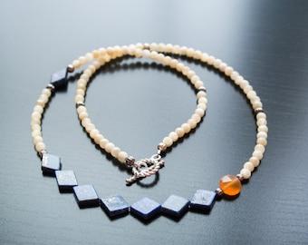 Blue Diamond Necklace - Blue Lapis Lazuli, Jasper, Carnelian, Gemstones, Semi Precious, Silver Jewelry, Gift For Her, Anniversary