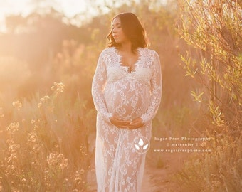 CAMILLE •sale• lace maternity gown long sleeve floor length white eyelash