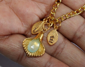 Aqua Chalcedony Personalized Necklace - Calla Lilly Necklace - Custom Initial Jewelry, Gold Vermeil necklaces, Gemstone Necklaces