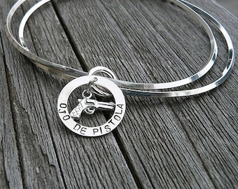 LIMITED TIME SALE Unique Double Bangle with Pistol Charm - Ojo de Pistola - Solid Hand Stamped Sterling Silver - Great Gift