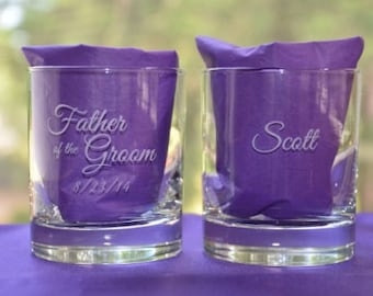 Personalized Engraved Custom Keepsake Father of the Bride/Groom, Mother of the Bride/Groom, Wedding Pary Glass