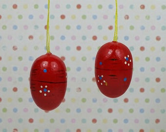 Vintage Easter egg ornaments red floral 1960s wooden set of 2