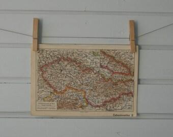 1938 Vintage Czechoslovakia Map