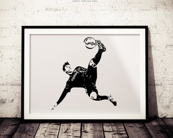 Soccer Superstar Black and White Wall Art Minimalist Poster, Soccer Bicycle Kick, Futbol Art Print, Home Wall Decor, Messi Poster, Messi Art