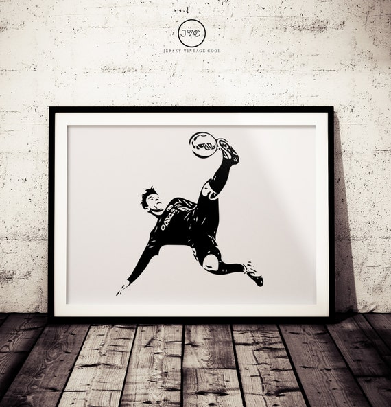 Soccer superstar black and white wall art minimalist poster