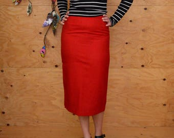 Vintage 80's Does 50's Red Wool Pencil Skirt Midi Length SZ S