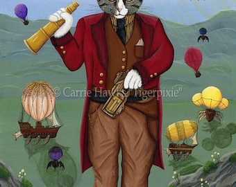 Steampunk Cat Art Victorian Gothic Air Ships Hot Air Balloons Fantasy Cat Art ACEO / ATC Mini Print Cat Lover Gift