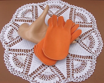 Vintage Orange Cotton Gloves Crescendoe 1960s