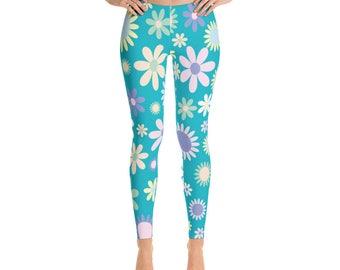 Aqua Floral Leggings For Women Yoga Pants Yoga Leggings Workout Leggings Pattern Leggings Printed Leggings Fashion Leggings Womens Tights