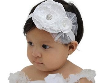 Baptism Headband, white baby headband, Flower Girl Headband, Christening Headband, Baby Flower Headband, Infant Headbands, White Headband