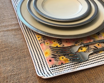 Apricot Floral Placemat: Use as a placemat, dish dryer, or hot pad!  Perfect for Mother's Day and Teacher Appreciation!