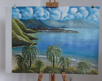 Acrylics And Oils On Paper Canvas.  51x65   ''A Tropical View''