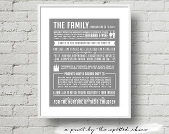 Instant Download 11x14 Gray Proclamation to the Family Excerpts Print JPEG.