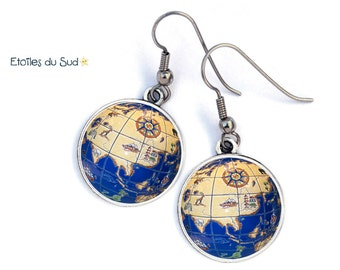 World map, travel, planet, surgical steel hooks, ref.63 cabochons earrings