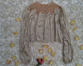 Vintage 40s Green Silk Ornate Lace Collar Lingerie Evening Cardigan Jacket Size S