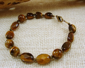 Handmade Tiger Eye Bracelet or Anklet - Resizeable - Customizable