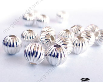 20 pcs 5mm Sterling Silver Beads Corrugated Beads B39C