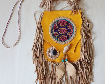 SALE - Peruvian Fringed Leather Bag