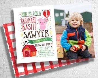 Farm Birthday Invitation   Barnyard Birthday Invitation  Farm Animal Birthday Invite   Rooster, Pig, or Cow   DIGITAL FILE ONLY