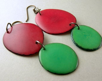 Pink Rose and Spring Greenery Green Tagua Nut Eco Friendly Earrings with Free USA Shipping #taguanut #ecofriendlyjewelry