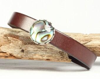 Abalone shell bracelet, Leather bracelet, Beach bracelet, Magnetic clasp, CarolMade L6