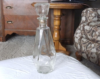 Vintage Glass Bottle with Corked Stopper