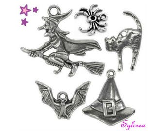 5 charm 17 mm mixed Gothic 32: Spider witch cat bat Hat mouse Halloween silver metal