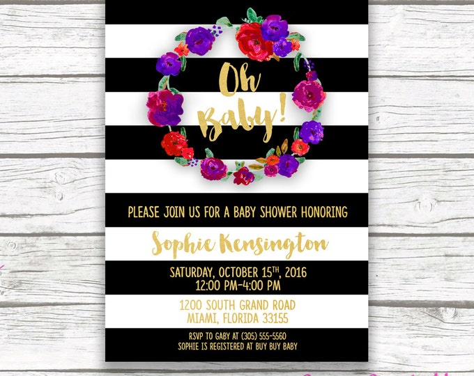 Oh Baby Black and White Striped Gold Foil Baby Shower Invitation, Red Purple Fall Autumn Winter Floral Wreath Invite, Printed or Printable
