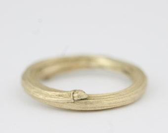 Mens ring, twig ring, mens wedding ring, gold wedding ring