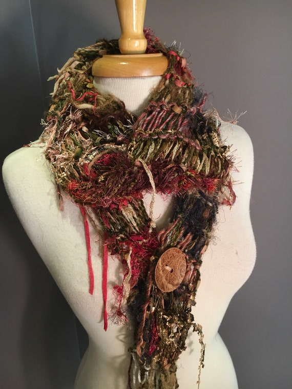 NEW Glitzy artwear scarf with button, Tribal Romance in Charisma, Versatile Scarf, Glitzy funky ribbon knit scarf in tans pinks, bohemian
