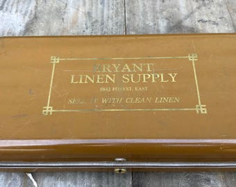 Vintage Retro Bryant Linen Supply toolbox storage box tin