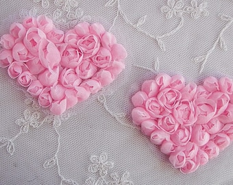 2 pc Handmade Pink Ribbon Rose Bud Flower Floral Valentine Heart Applique Yoke