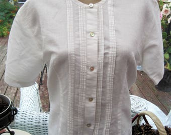 vintage 80's secretary blouse, pintucked blouse, vintage work shirt, cream shirt