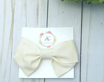 Cream hand tied bow, cream hair bow, nylon headband, hand tied bow, school girl bow, baby girl headbands, cream colored bow, baby hair bow