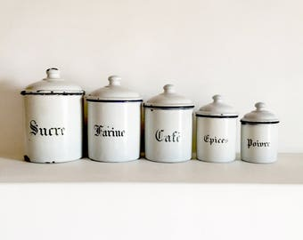 French Enamel Canister Set   Set Of 5   White Enamel Canisters   Kitchen  Canisters