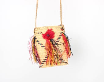 Adorable Straw Rainbow Grass 3D Fringing Wicker Square / Rectangle / Mini / Small Cross Body Handbag / Basket Bag / Purse