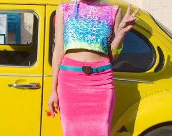 Hot Pink Velvet Pencil Skirt