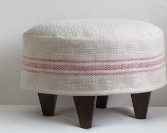FRENCH TUFFET slipcovered  Stool/ottoman/tuffet/bench/seating furniture