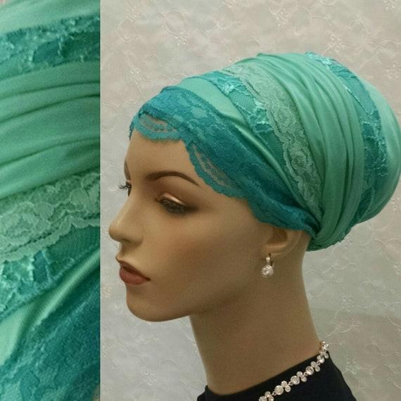 Exquisite mint dressy sinar tichel, tichels, chemo scarves, head scarves, hair snoods