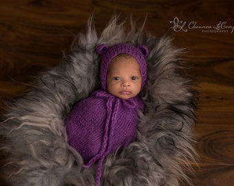 Purple Mohair Teddy Bear Hat and Swaddle Sack Newborn Baby Photography Prop