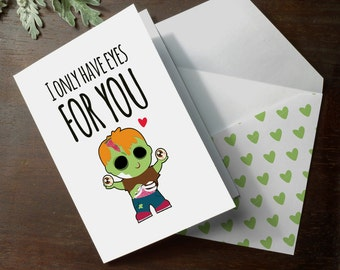 INSTANT DOWNLOAD cute zombie printable nerd walking dead I only have eyes for you funny zombie anniversary romantic love card