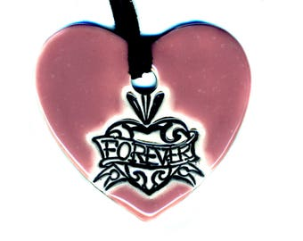 Love Forever Heart Ceramic Necklace in Pink
