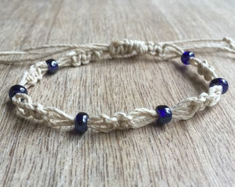 Belleair, Blue Beaded Anklet, Natural Anklet, Hemp Anklet, Macrame Bracelet, Beach Anklets, Handmade Jewelry, Hemp Bracelet HA001115