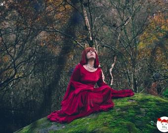 Crushed Velvet Medieval Dress with Hood - MAKE TO ORDER