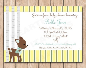 Little Deer Woodlands Baby Shower Invitation - 1.00 each printed