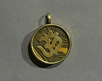 Tibetan Om Ohm Pendant, Om Ohm Pendant, Brass and Tigereye Inlay, Yoga Pendant, Gold Ohm Om Pendant - AP424
