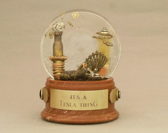 It's A Tesla Thing - One of a Kind Artisan Snow Globe with Artist Tribute to Nikola Tesla, visionary